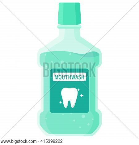 Vector Isolated Object Illustration Oral Dental Care Mouthwash Liquid