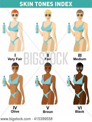 Skin Color Index Infographic. Beautiful Woman With Different Color Skin Tones Chart. Infographic Vec
