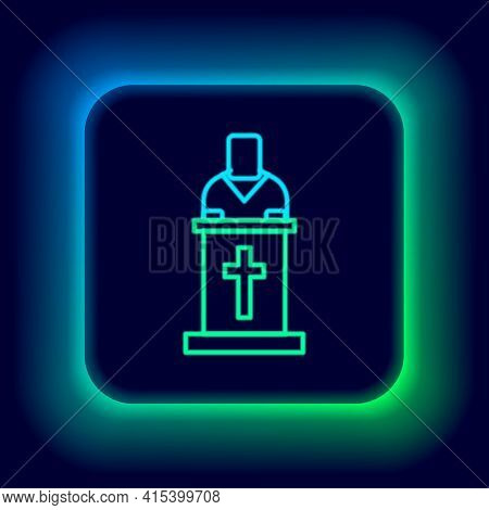 Glowing Neon Line Church Pastor Preaching Icon Isolated On Black Background. Colorful Outline Concep