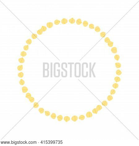 Cartoon Style Vector Round Frame Template, Background With Chickpeas, Chick Pea Seeds For Healthy Ve