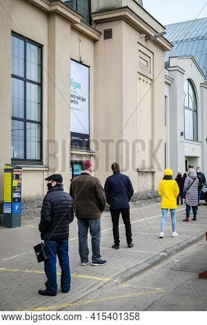 Riga, Latvia: April 3, 2021: Mass Vaccination Centers Against Covid-19 Begin Work In Latvia. People