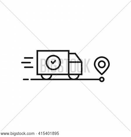 Fast Delivery Of Goods Or Moving Icon. Concept Of Package Status Tracking Or Company Distribution An