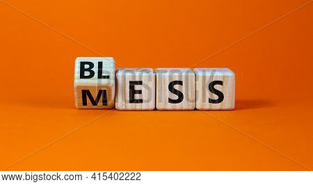 Bless Mess Symbol. Turned The Cube And Changed The Word 'mess' To 'bless'. Beautiful Orange Table, O