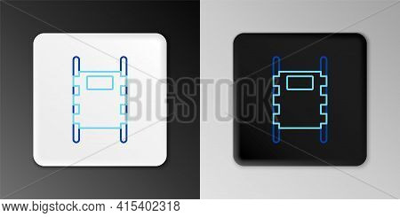 Line Stretcher Icon Isolated On Grey Background. Patient Hospital Medical Stretcher. Colorful Outlin