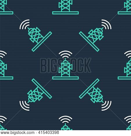 Line Wireless Antenna Icon Isolated Seamless Pattern On Black Background. Technology And Network Sig