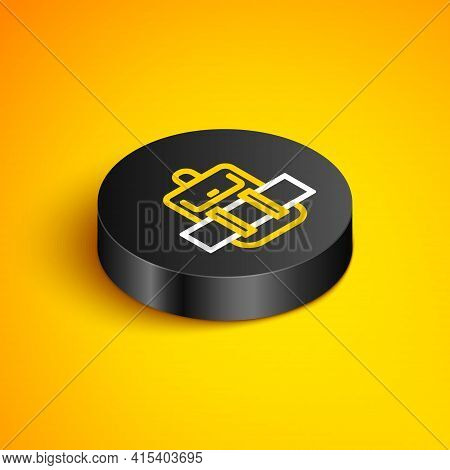 Isometric Line Hiking Backpack Icon Isolated On Yellow Background. Camping And Mountain Exploring Ba
