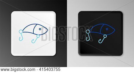 Line Fishing Lure Icon Isolated On Grey Background. Fishing Tackle. Colorful Outline Concept. Vector