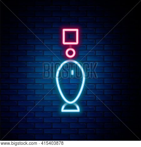 Glowing Neon Line Fishing Spoon Icon Isolated On Brick Wall Background. Fishing Baits In Shape Of Fi