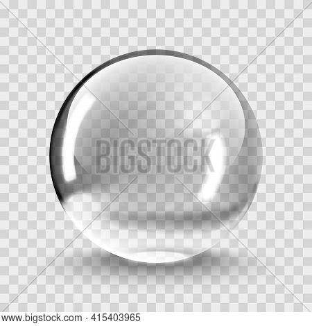 Crystal Ball Light Vector On Transparent Background. Clear Sphere Transparent Ball. Bubble Clear Eps
