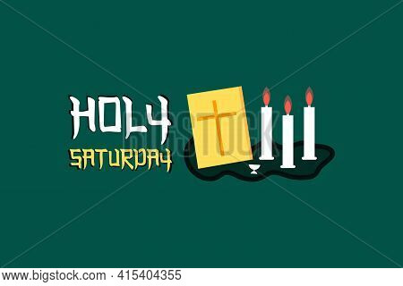 Postcard Holy Saturday Before Easter, Holy Week, The Crucifixion Of Jesus And The Resurrection. Holy
