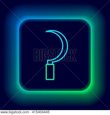 Glowing Neon Line Sickle Icon Isolated On Black Background. Reaping Hook Sign. Colorful Outline Conc