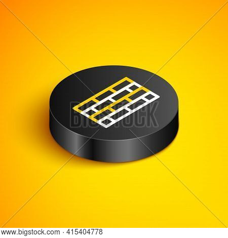 Isometric Line Firewall, Security Wall Icon Isolated On Yellow Background. Black Circle Button. Vect