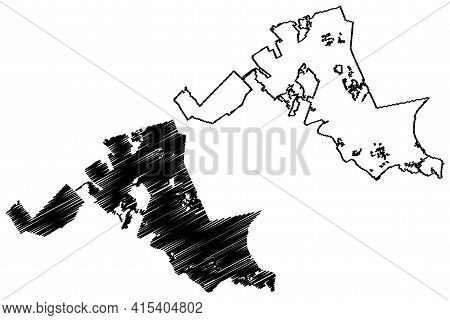 North Charleston City, South Carolina (united States Cities, United States Of America, Usa City) Map