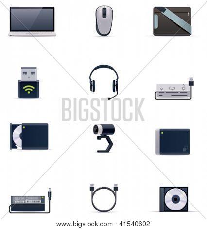 Vector laptop accessories icon set