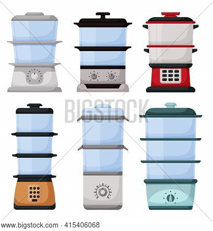 Steam Cooker Isolated Cartoon Set Icon. Vector Illustration Steamer On White Background. Vector Cart