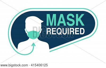 Mask Required, No Entry Without Mask Creative Sticker - Cartoon Person Silhouette In Virus Protectiv