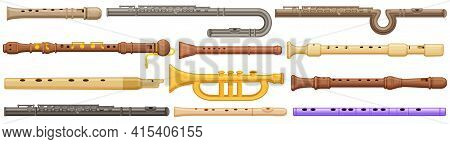 Flute Isolated Cartoon Set Icon. Vector Illustration Music Instrument On White Background. Vector Ca