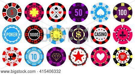 Casino Chips Vector Cartoon Set Icon. Vector Illustration Vegas Game On White Background. Isolated C