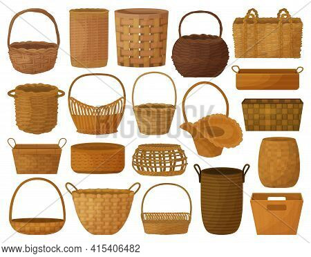 Wicker Basket Vector Cartoon Set Icon. Vector Illustration Wooden Accessory On White Background. Iso