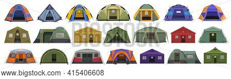 Tent Store Vector Cartoon Set Icon. Vector Illustration Canopy On White Background. Isolated Cartoon
