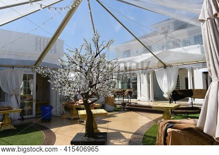 ANAHEIM, CALIFORNIA - 31 MAR 2021: Outdoor dining area at The White House Italian Steak House, by Philanthropist  and Celebrity Chef Sir Bruno Serato.