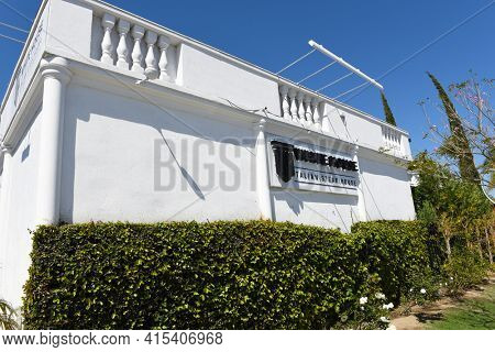 ANAHEIM, CALIFORNIA - 31 MAR 2021: Closeup of the sign on The White House Italian Steak House, by Philanthropist  and Celebrity Chef Sir Bruno Serato.