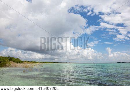View Over Laguna Chunyaxche, A Lagoon Near Tulum, Quintana Roo, Yucatan Peninsula, Mexico
