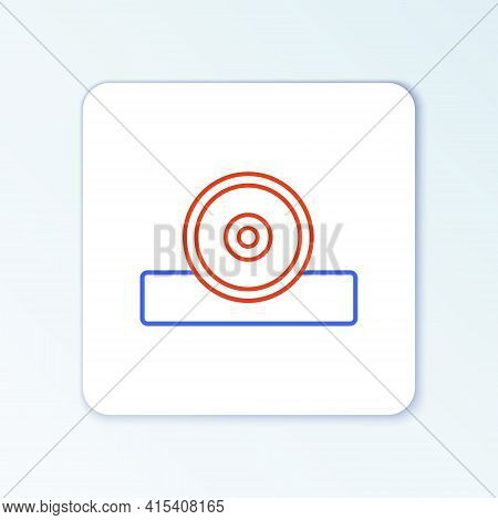 Line Otolaryngological Head Reflector Icon Isolated On White Background. Equipment For Inspection Th