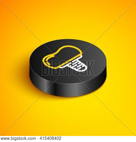 Isometric Line Dental Implant Icon Isolated On Yellow Background. Black Circle Button. Vector