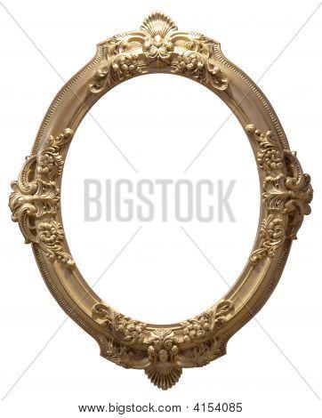 Isolated Empty Oval Golden Handmade Frame