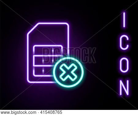 Glowing Neon Line Sim Card Rejected Icon Isolated On Black Background. Mobile Cellular Phone Sim Car