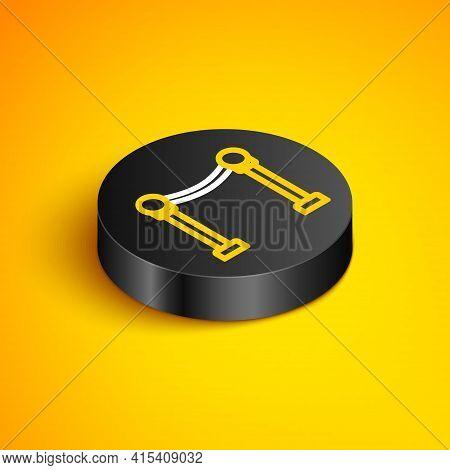 Isometric Line Rope Barrier Icon Isolated On Yellow Background. Vip Event, Luxury Celebration. Celeb