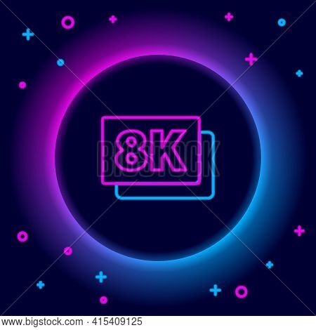 Glowing Neon Line 8k Ultra Hd Icon Isolated On Black Background. Colorful Outline Concept. Vector