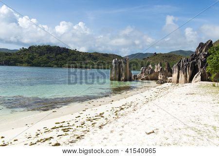 White Sandy Beach In Seychelles, Denis Private Island, Indian Ocean