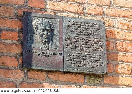 Gdansk, Poland - March 31, 2021: Memorial Plaque To Alexander Von Humboldt.