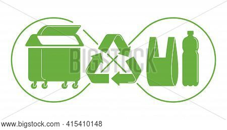 Recycle Waste Biodegradable Plastic Materials - Plastic Bottle And Trash Container With Infinity Sym