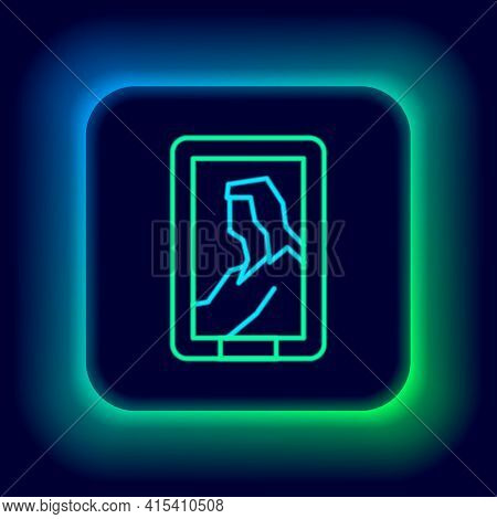 Glowing Neon Line Portrait Picture In Museum Icon Isolated On Black Background. Colorful Outline Con