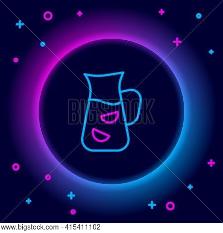 Glowing Neon Line Sangria Icon Isolated On Black Background. Traditional Spanish Drink. Colorful Out