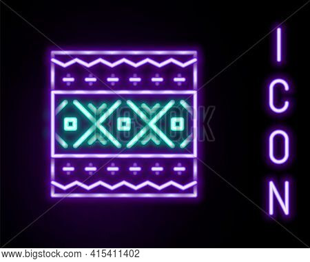 Glowing Neon Line Ukrainian Ethnic Pattern For Embroidery Icon Isolated On Black Background. Traditi