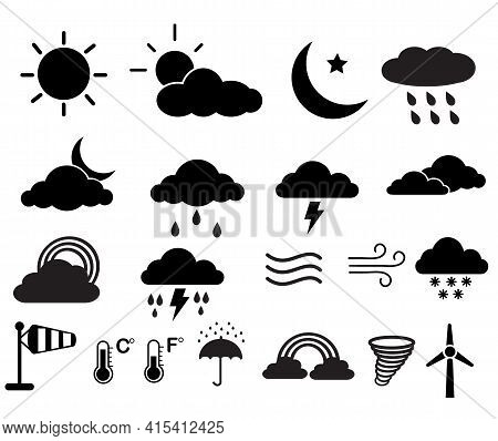 Set Of Weather Icons. Weather Icons On White Background. Weather Icons, Rainy And Cloud Sign. Flat S