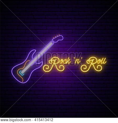Neon Rock And Roll Music Sign. Glowing Rock Guitar Icon And Text On Brick Wall Background. Music Emb