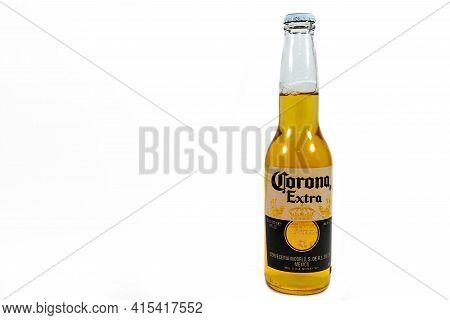 Miercurea Ciuc, Romania- 03 April 2021: Bottle Of  Corona Extra Beer Isolated On White Background,