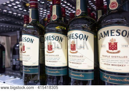 Arkhangelsk, Russia 04-05-2021: Jameson Irish Whiskey. Jameson Is By Far The Best Selling Irish Whis
