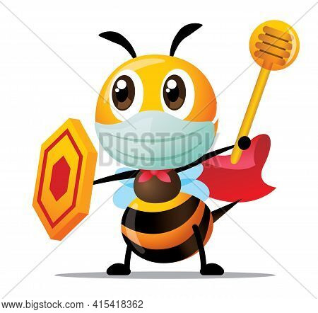 Cartoon Cute Superhero Bee Wearing Surgical Mask And Holding Shield And Honey Dipper To Protect Agai