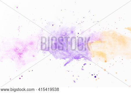 Splatters Violet Yellow Paint. High Quality And Resolution Beautiful Photo Concept