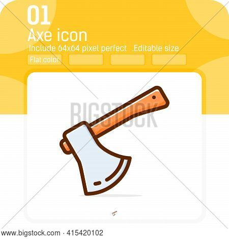 Carpenter Tool Axe Icon With High Quality Flat Style Isolated On White Background. Illustration Axe