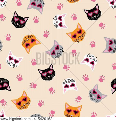 Colorful Cool Cats With Heart Sunglasses And Paw Prints On Tan Repeat Background Pattern