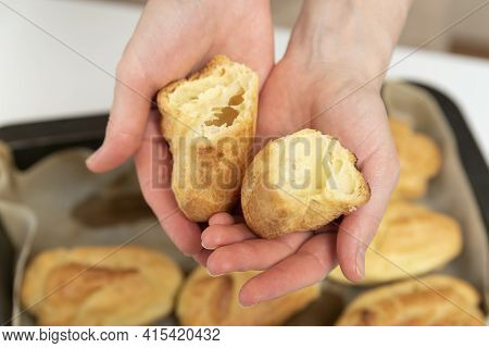Chef Hands With Empty Of Workpiece For Profiteroles, Puffs, Popovers, Eclair. Close Up.