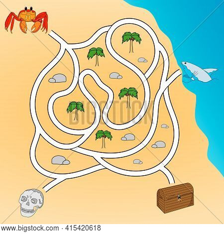 Kids Maze. Labyrinth Treasure Hunters. Help The Crab To Get To The Treasure Chest. Hand Drawing. Vec