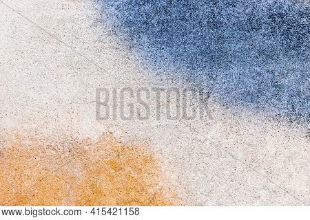 Orange And Blue Paint Slick Urban Old Colored Design Dirty Concrete Wall Texture Background.